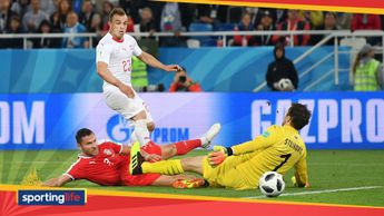 Xherdan Shaqiri scores for Switzerland against Serbia at the World Cup