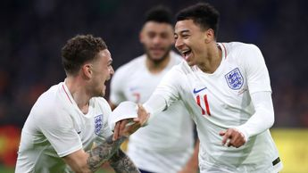 Kieran Trippier joins Jesse Lingard to celebrate