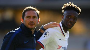 Chelsea manager Frank Lampard with striker Tammy Abraham
