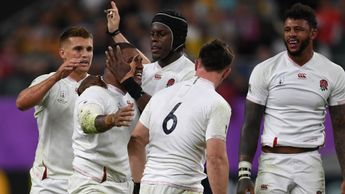 England celebrate Kyle Sinckler's second half try against Australia in the Rugby World Cup quarter-final