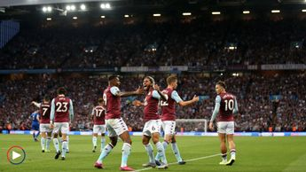 Celebrations for Aston Villa against Everton - scroll down for highlights
