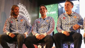 David Beckham, Gary Neville and Phil Neville pictured in 2017