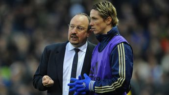 Rafa Benitez (left) worked with Fernando Torres (right) at Liverpool and Chelsea
