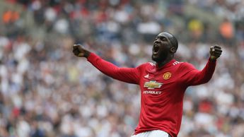 Romelu Lukaku: The Manchester United forward celebrates his goal v Spurs in the FA Cup semi-final
