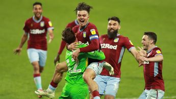Aston Villa celebrate reaching the Sky Bet Championship play-off final