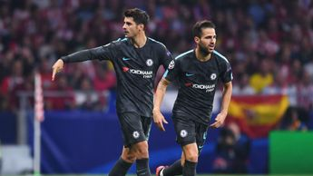 Alvaro Morata and Cesc Fabregas in action for Chelsea