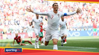 Cristiano Ronaldo celebrates his goal against Morocco