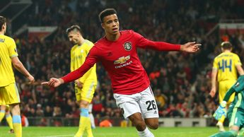 Mason Greenwood celebrates scoring for Manchester United
