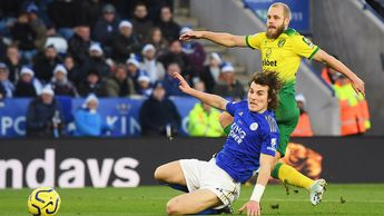 Teemu Pukki scores for Norwich against Leicester in the Premier League