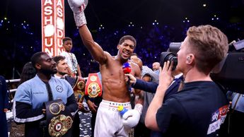 Anthony Joshua celebrates after beating Andy Ruiz Jr
