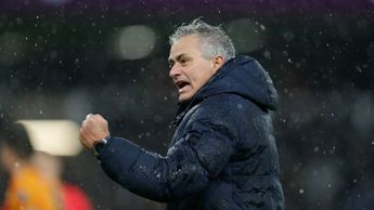 Jose Mourinho celebrates after Tottenham's win over Wolves