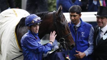 Blue Point pictured with James Doyle (left) and trainer Charlie Applenby (right)