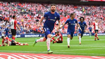 Olivier Giroud celebrates after scoring for Chelsea at Wembley