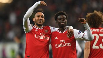 Pierre-Emerick Aubameyang and Bukayo Saka celebrate for Arsenal