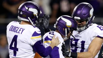 Kicker Kai Forbath celebrates with Ryan Quigley and Blake Bell