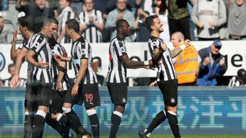 Joselu celebrates his first goal for Newcastle