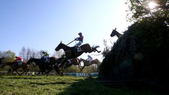 Action over the National fences at Aintree