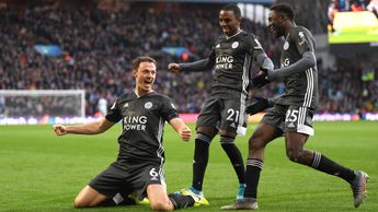 Jonny Evans: Leicester defender celebrates his goal against Aston Villa