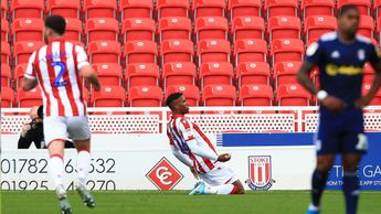 Stoke's Tyrese Campbell celebrates his goal against Fulham