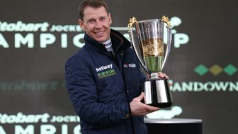 Richard Johnson with the 2017/18 Champion Jockey trophy