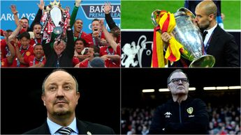 Top 50 managers of all-time (clockwise from top left): Sir Alex Ferguson, Pep Guardiola, Marcelo Bielsa and Rafa Benitez all included by France Football