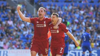 Jordan Henderson and James Milner celebrate for Liverpool