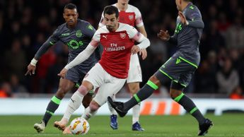 Henrikh Mkhitaryan in action against Sporting CP