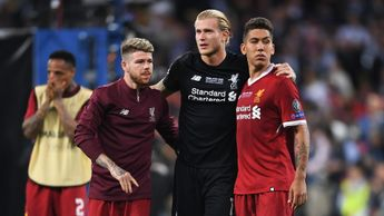 Loris Karius is consoled by his Liverpool team-mates