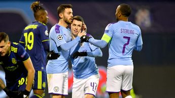 Phil Foden celebrates scoring for Manchester City against Dinamo Zagreb