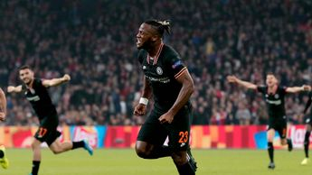 Michy Batshuayi celebrates scoring for Chelsea against Ajax in the Champions League