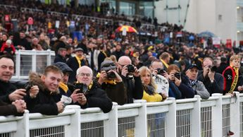 Racegoers watch the action from Sandown on Saturday