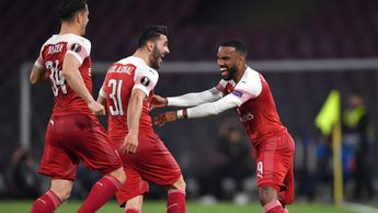 Alexandre Lacazette celebrates scoring a goal for Arsenal