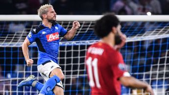 Dries Mertens: Napoli striker celebrates after scoring against Liverpool in the Champions League