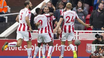 Jese and his Stoke team-mates celebrate
