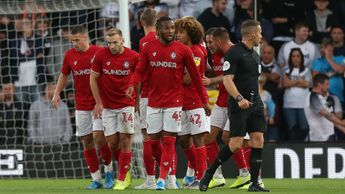 Bristol City celebrate their first goal against Derby