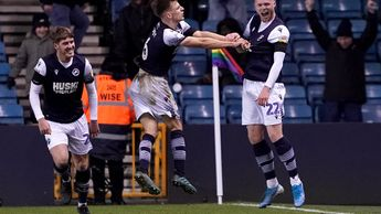 Aiden O'Brien (right) celebrates his late equaliser for Millwall