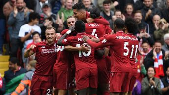 Liverpool players celebrate a goal against Southampton at Anfield