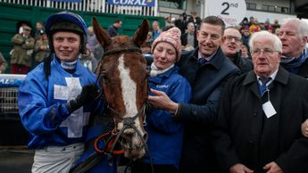 James Bowen celebrates Raz De Maree's Welsh National success