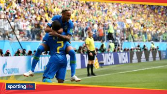 Neymar celebrates his goal v Costa Rica with Brazil team-mate Douglas Costa