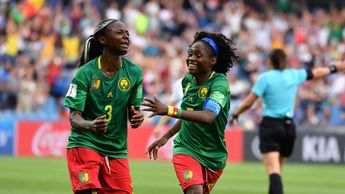 Ajara Nchout of Cameroon celebrates a goal at the Women's World Cup