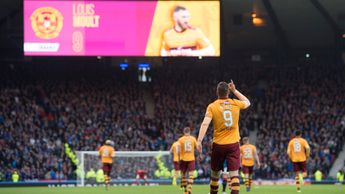 Motherwell striker Louis Moult celebrates