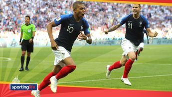 Kylian Mbappe celebrates one of his goals against Argentina