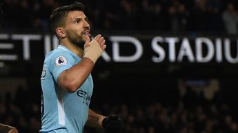 Manchester City striker Sergio Aguero celebrates