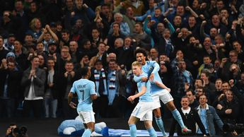 Manchester City celebrate one of the goals at the Etihad