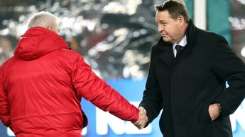 Steve Hansen shakes hands with Warren Gatland after the 30-15 win for the All Blacks