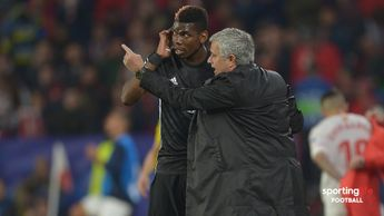 Jose Mourinho in discussion with Paul Pogba during the Champions League game against Sevilla