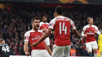 Sokratis and Aubameyang celebrate for Arsenal