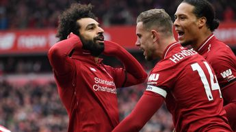Mohamed Salah celebrates his stunning goal against Chelsea