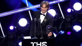 Luke Modric with the FIFA Player of the Year award