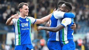 Wigan celebrate Gavin Massey's goal in their shock win at Leeds